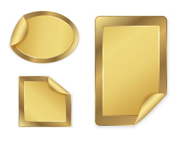 Gouden stickers instellen Premium Vector