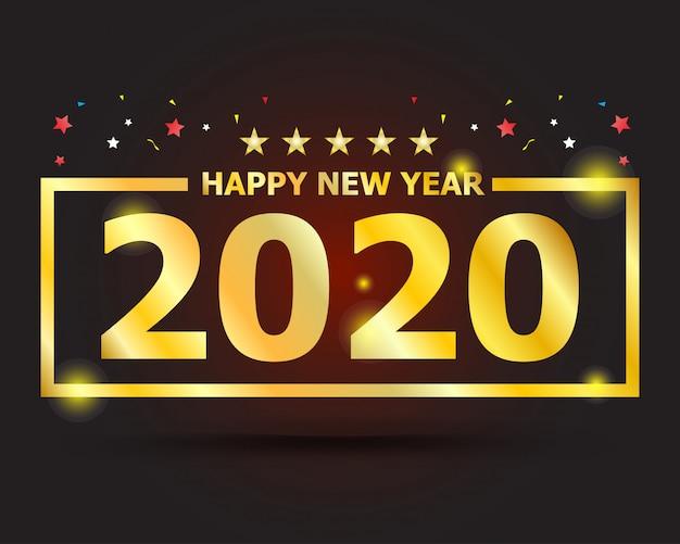 Gouden tekst 2020 gelukkig nieuwjaar Premium Vector