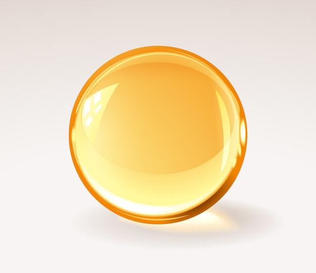 Gouden transparante harsbal - realistische medische pil of honingdruppel of glazen bol. rgb. globale kleuren Premium Vector