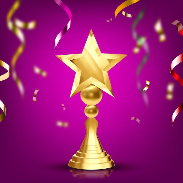 Gouden trofee cup Premium Vector