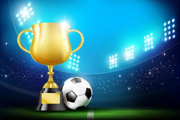 Gouden trofee cups en voetbal voetbal stadion Premium Vector