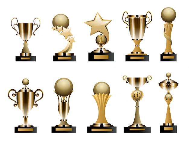 Gouden trofeekoppen en onderscheidingen Premium Vector