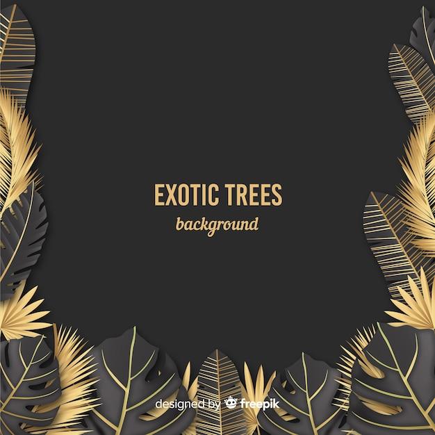Gouden tropische bladerenachtergrond Gratis Vector