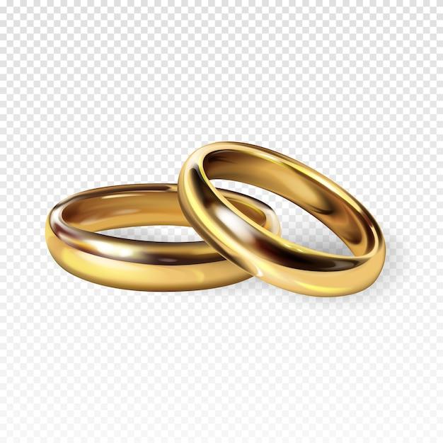 Gouden trouwringen 3d realistische illustratie voor betrokkenheid Gratis Vector