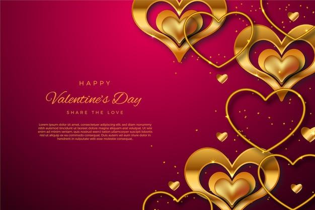 Gouden valentijnsdag achtergrond Gratis Vector