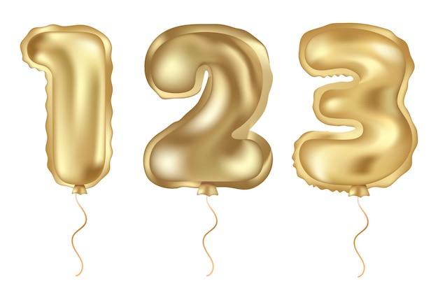 Gouden vector set van realistische ballon Premium Vector
