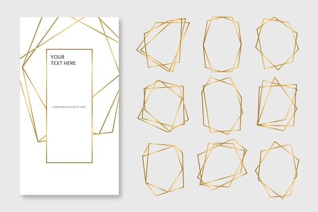 Gouden veelhoekig frame-pakket Gratis Vector