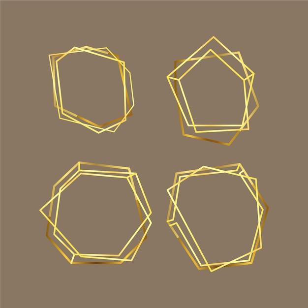 Gouden veelhoekige frame-collectie Gratis Vector