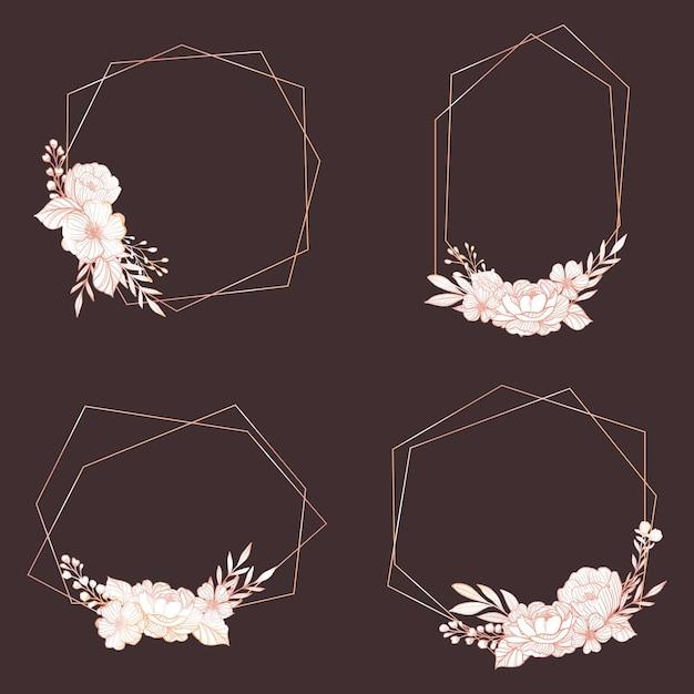Gouden veelhoekige frames met elegante bloemen Gratis Vector
