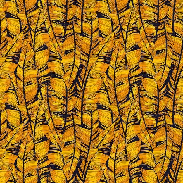 Gouden veer abstract patroon. vector naadloze illustratie Premium Vector