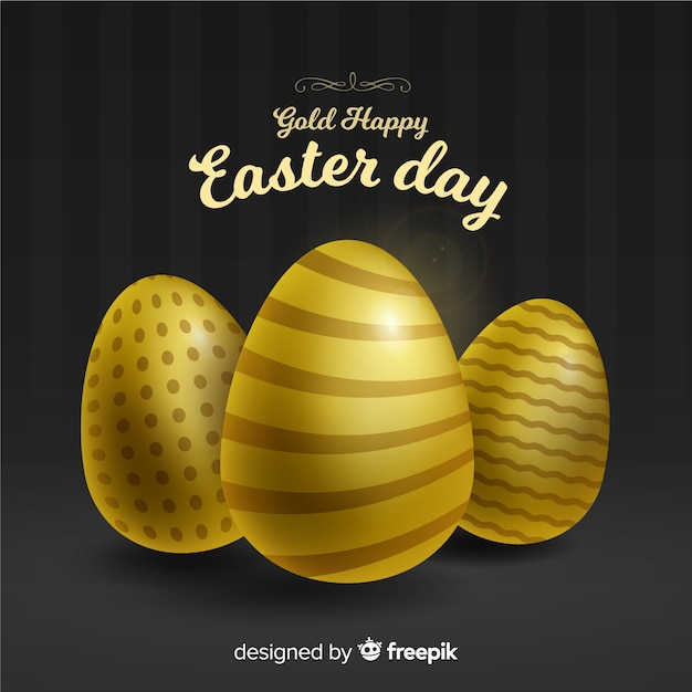Gouden verfraaide eieren pasen-dagachtergrond Gratis Vector