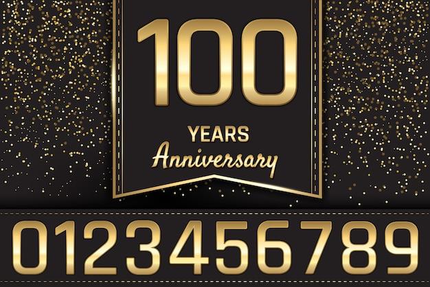 Gouden verjaardag embleemontwerp Premium Vector