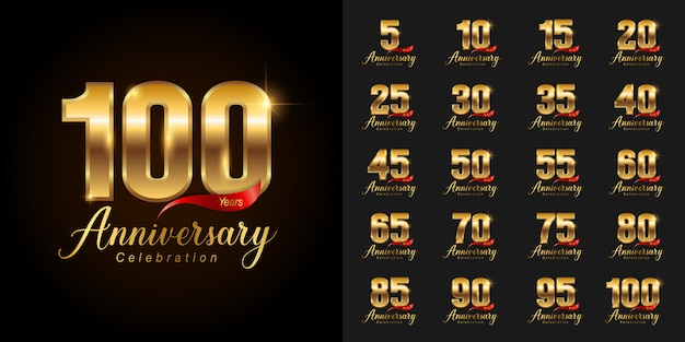 Gouden verjaardag viering logo set. Premium Vector