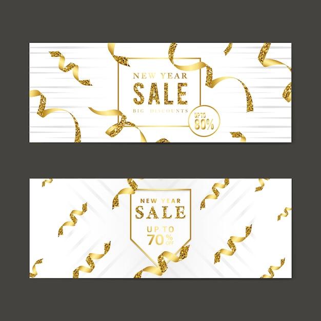 Gouden verkoop teken vector set Gratis Vector
