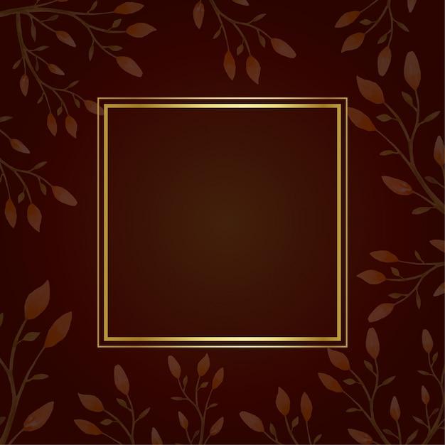 Gouden vierkant frame herfst Premium Vector