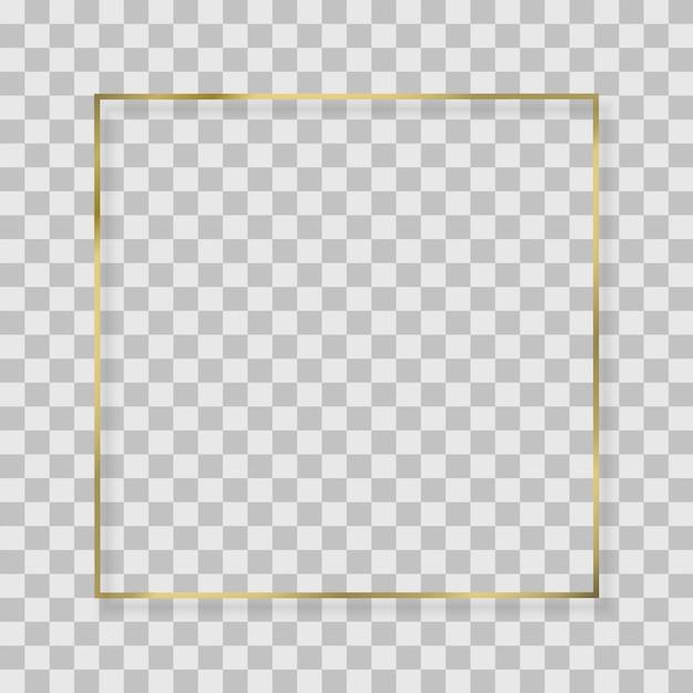 Gouden vierkant, rond, ovaal frame met lichteffecten. Premium Vector