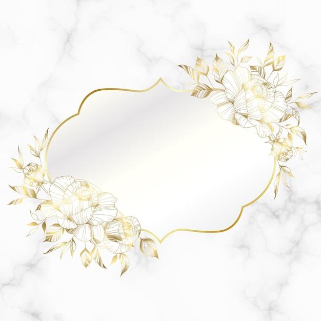 Gouden vintage frame met roze bloem op marmeren achtergrond. Gratis Vector