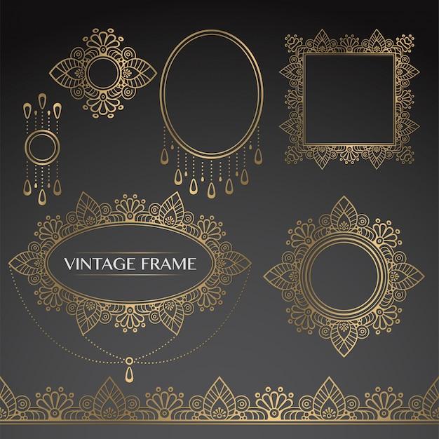 Gouden vintage frames Gratis Vector