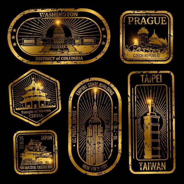 Gouden vintage reiszegels met monumenten en bezienswaardigheden Premium Vector