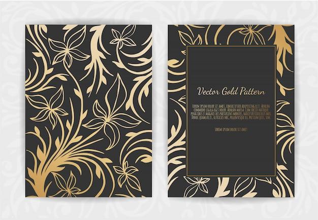 Gouden vintage wenskaart op zwart Premium Vector