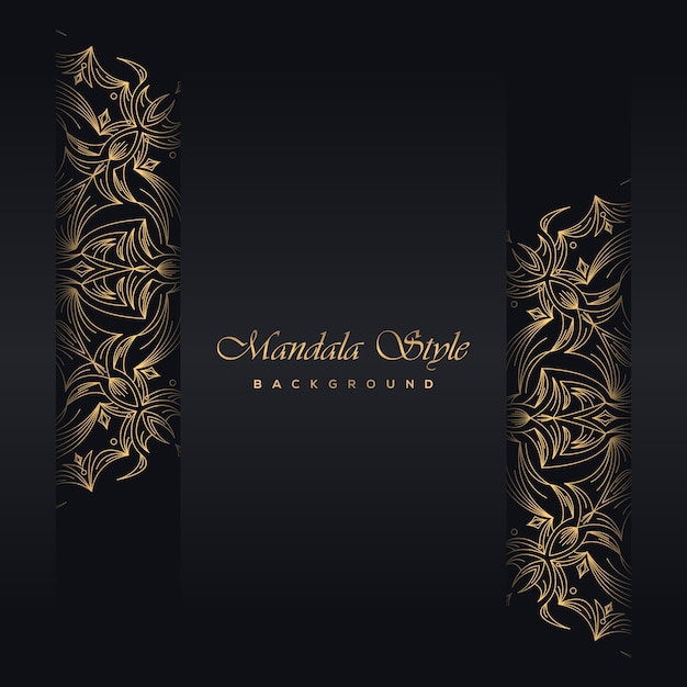 Gouden vintage wenskaart zwarte achtergrond Premium Vector