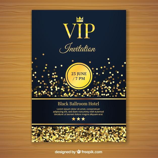 Gouden vip uitnodigingssjabloon Gratis Vector