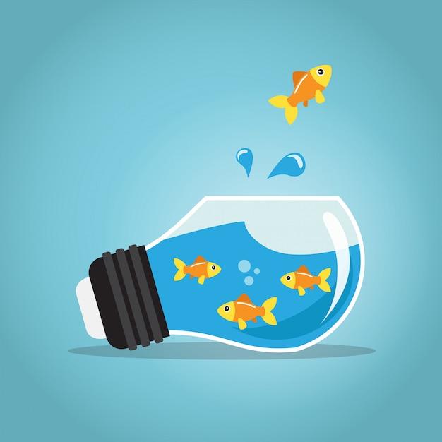 Gouden vissen die buiten de vissenkombol springen Premium Vector