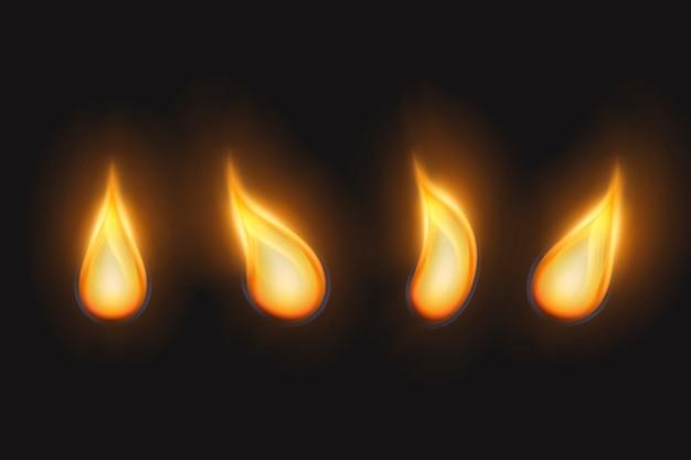 Gouden vlammen van kaarsen ingesteld Gratis Vector