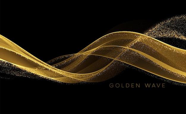 Gouden vloeiende golf met pailletten glitter stof op zwart. Gratis Vector