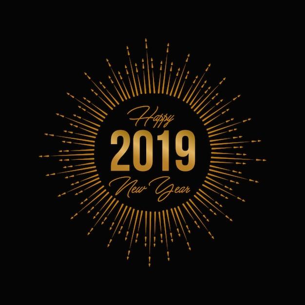 Gouden vuurwerk nieuw jaar 2019 wenskaart en logo Premium Vector