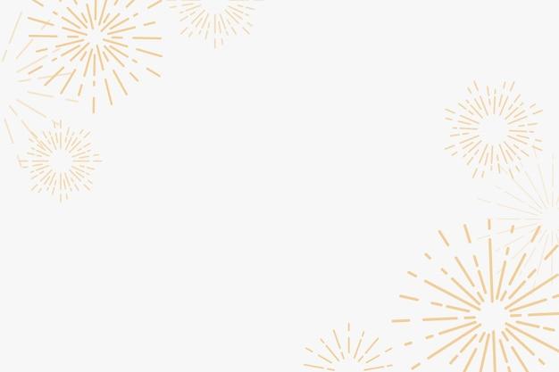 Gouden vuurwerk nieuwjaar viering achtergrond Gratis Vector