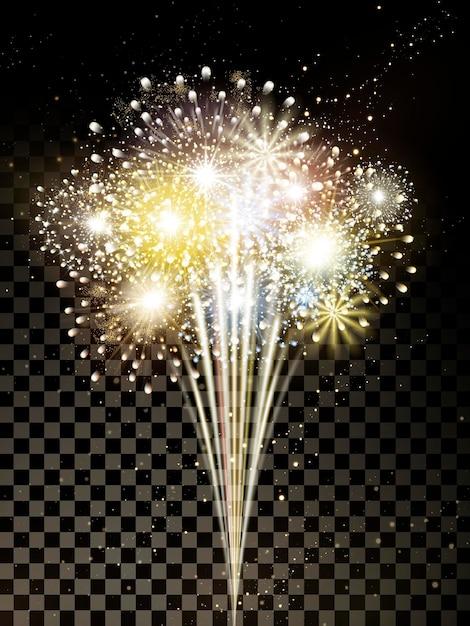 Gouden vuurwerkelementen voor festival en feest Premium Vector