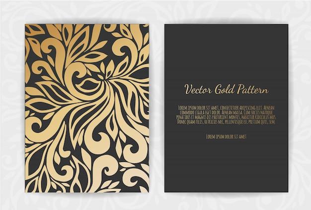 Gouden wenskaart op zwart Premium Vector