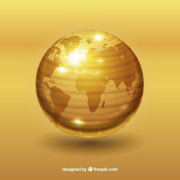 Gouden wereld met atlantic ocean view Gratis Vector
