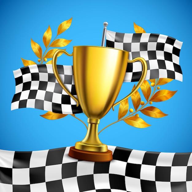 Gouden winnaar trofee realistische poster Gratis Vector