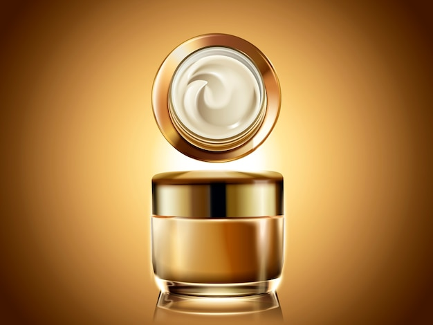Gouden zalfpotje, leeg kosmetisch containermalplaatje voor gebruik met roomtextuur in illustratie, gloeiende gouden achtergrond Premium Vector