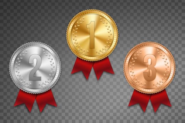 Gouden, zilveren en bronzen medaille met lintenset. Premium Vector