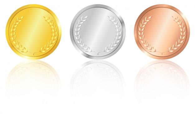 Gouden, zilveren en bronzen medailles. Premium Vector