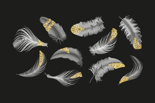 Gouden, zilveren veren collectie ingesteld op een witte achtergrond. Premium Vector