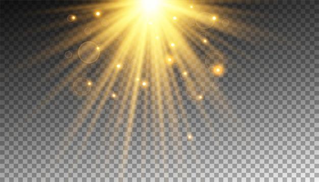 Gouden zonnestraal met glitters of gouddeeltjes schittert licht Premium Vector