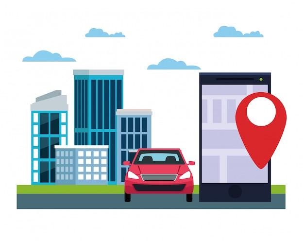 Gps-locatie autoservice Gratis Vector