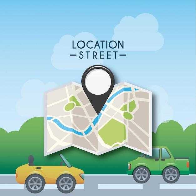 Gps-locatie Premium Vector
