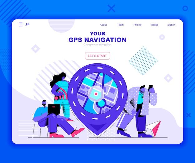 Gps navigatie bestemmingspagina sjabloon Premium Vector