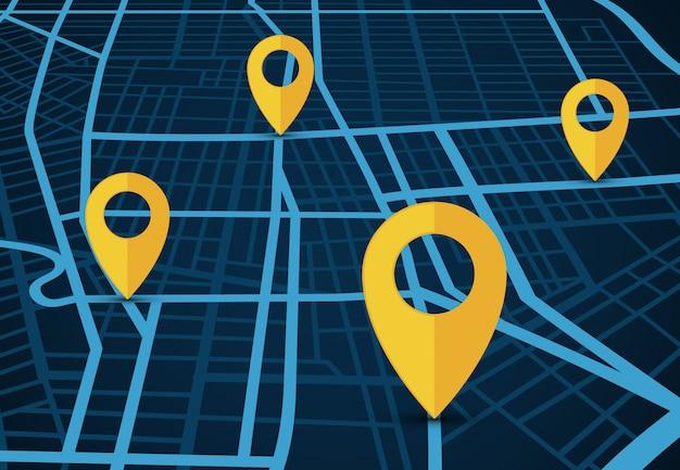 Gps-navigatie dienst vector concept. 3d-kaart met locatie-aanwijzers Premium Vector