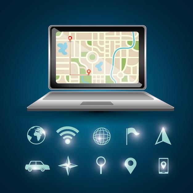 Gps-navigatie-laptop Gratis Vector