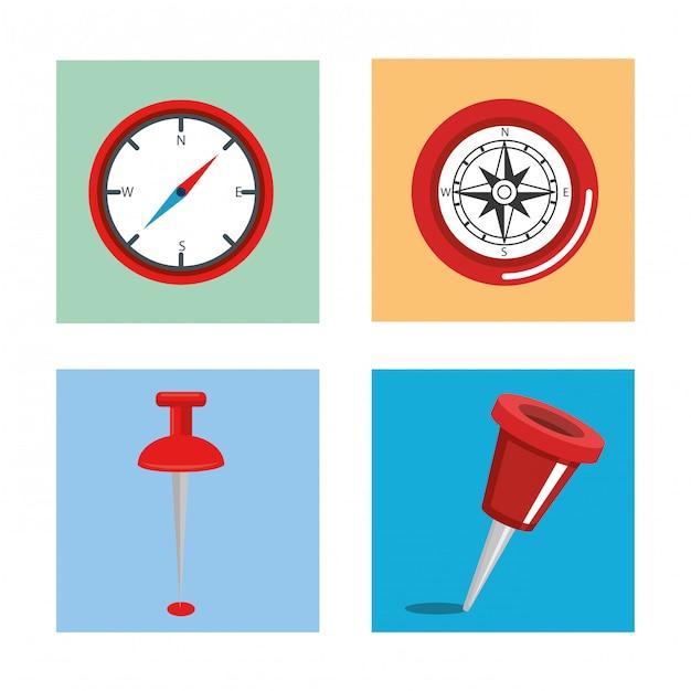 Gps navigatie set pictogrammen Gratis Vector
