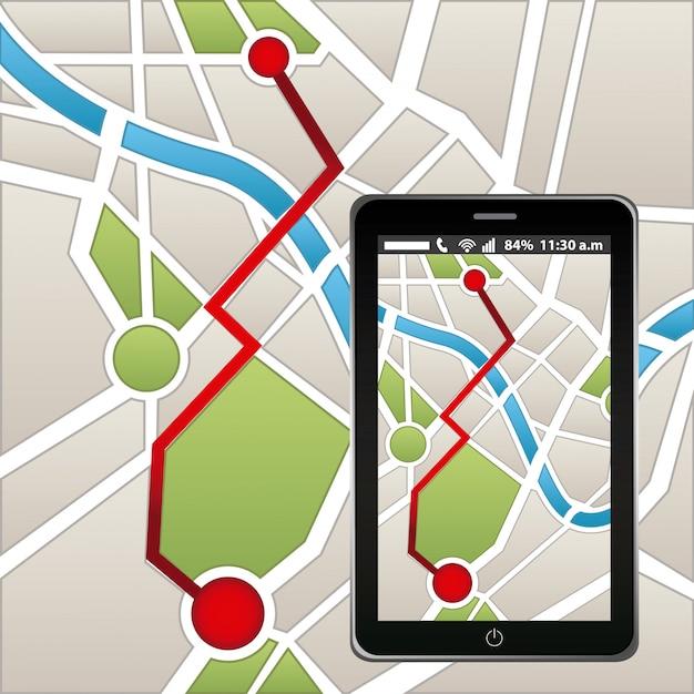 Gps navigatie Premium Vector