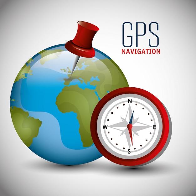 Gps-navigatieontwerp Premium Vector