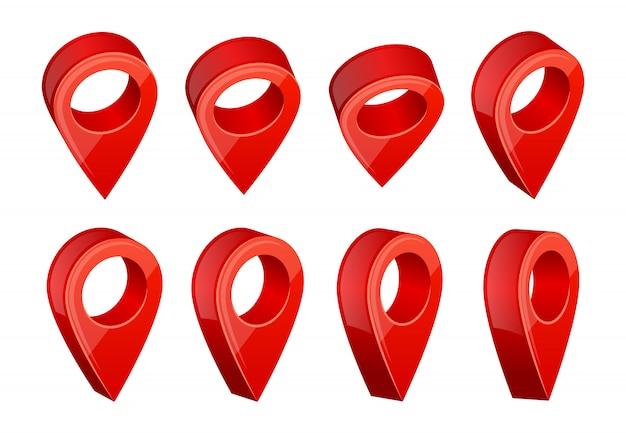 Gps-navigatiesymbolen. realistische afbeeldingen van verschillende kaartaanwijzers Premium Vector