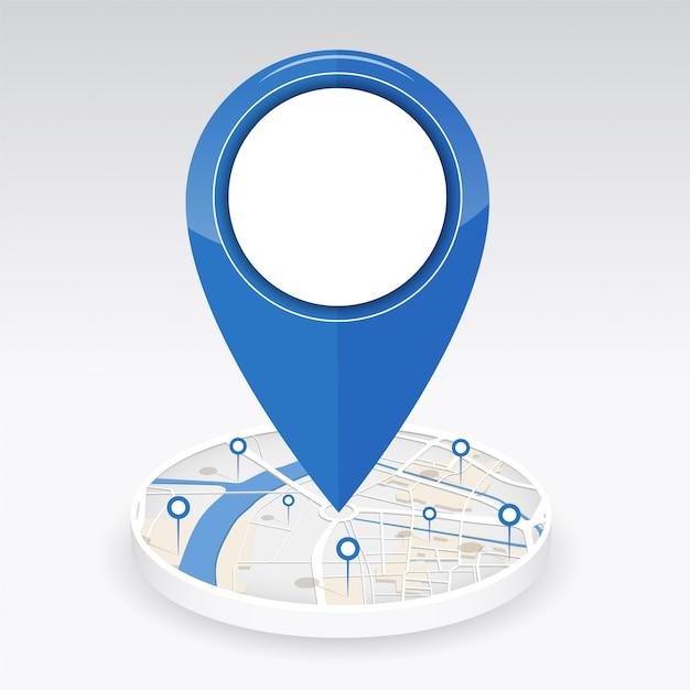 Gps-pictogram in het midden van de stadsplattegrond met pin-locatie Premium Vector